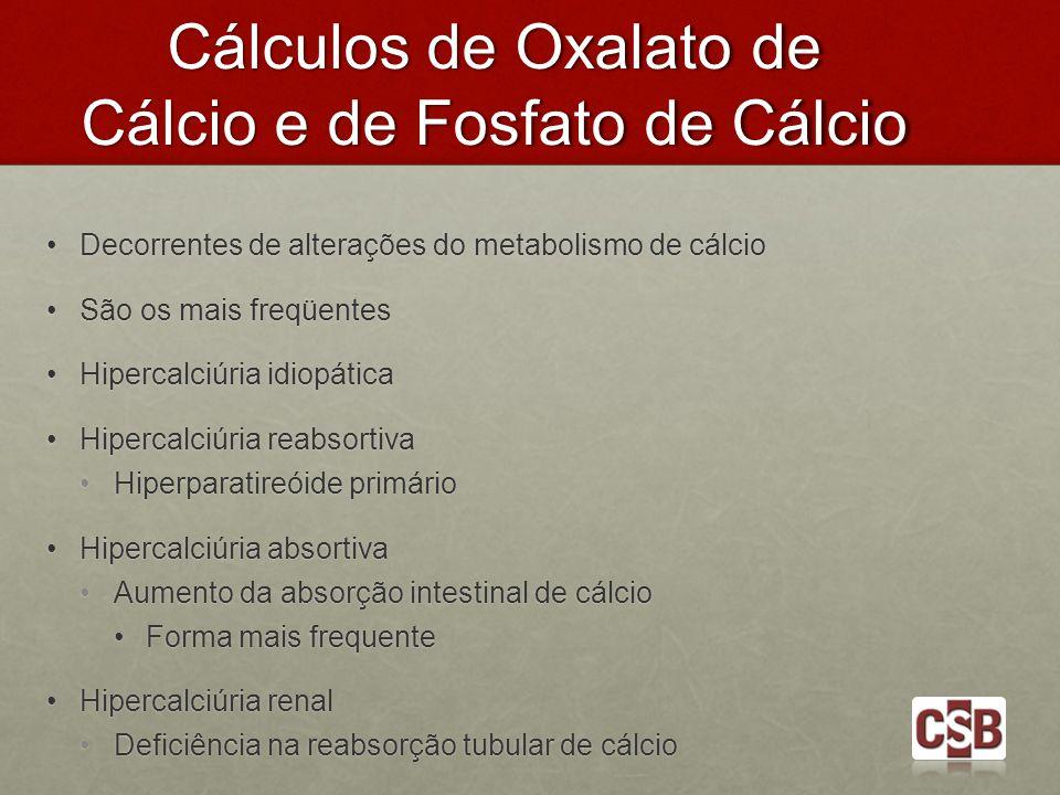 Cálculos de Oxalato de Cálcio e de Fosfato de Cálcio