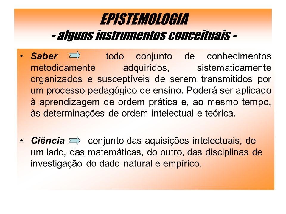 EPISTEMOLOGIA - alguns instrumentos conceituais -
