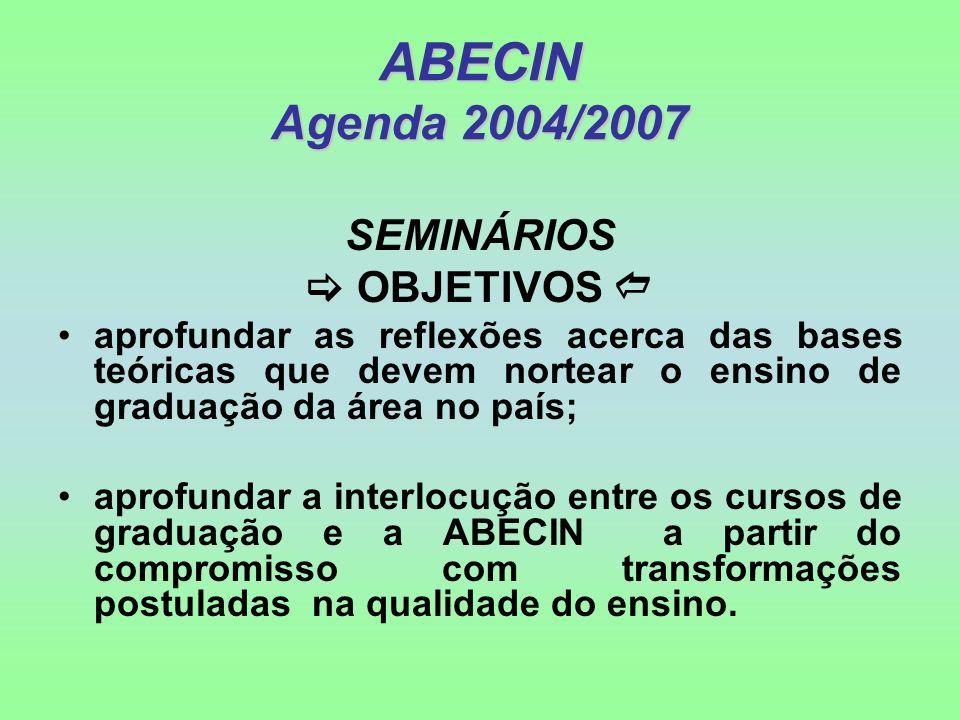 ABECIN Agenda 2004/2007 SEMINÁRIOS  OBJETIVOS 