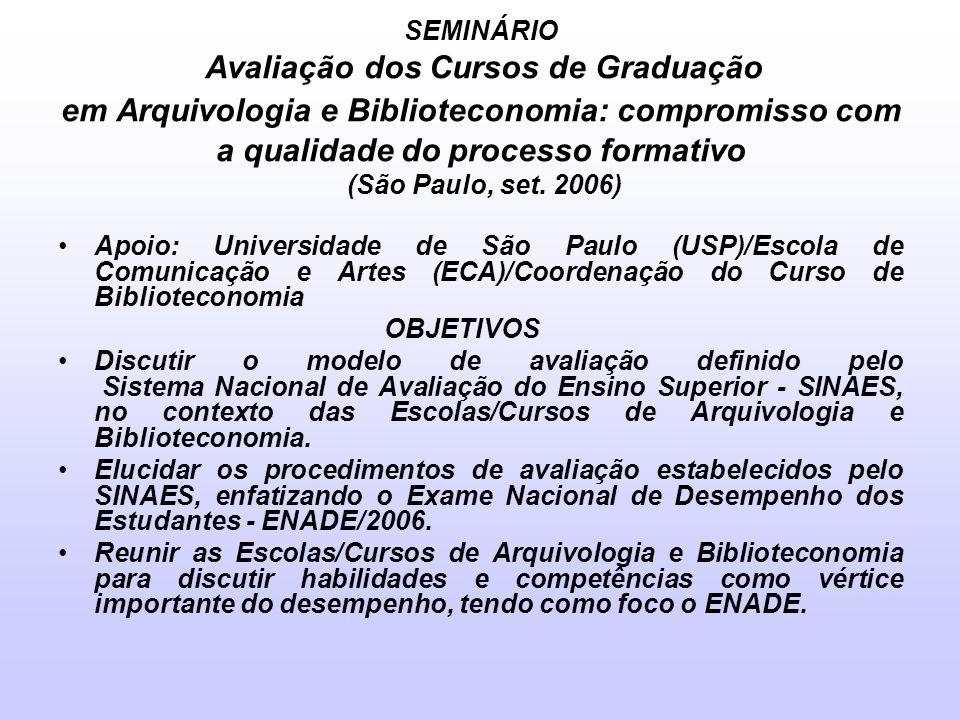 SEMINÁRIO Avaliação dos Cursos de Graduação em Arquivologia e Biblioteconomia: compromisso com a qualidade do processo formativo (São Paulo, set. 2006)