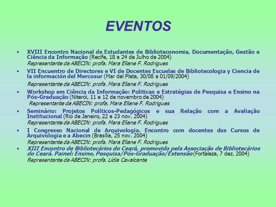 EVENTOS XVIII Encontro Nacional de Estudantes de Biblioteconomia, Documentação, Gestão e Ciência da Informação (Recife, 18 a 24 de Julho de 2004)