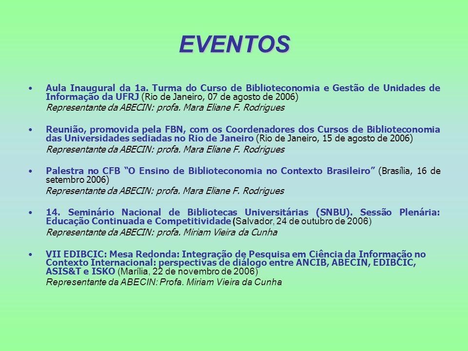 EVENTOS Aula Inaugural da 1a. Turma do Curso de Biblioteconomia e Gestão de Unidades de Informação da UFRJ (Rio de Janeiro, 07 de agosto de 2006)