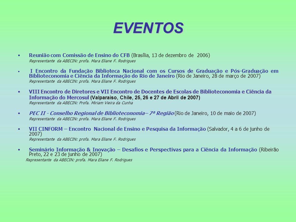 EVENTOS Reunião com Comissão de Ensino do CFB (Brasília, 13 de dezembro de 2006) Representante da ABECIN: profa. Mara Eliane F. Rodrigues.