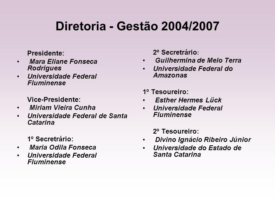 Diretoria - Gestão 2004/2007 Presidente: Mara Eliane Fonseca Rodrigues