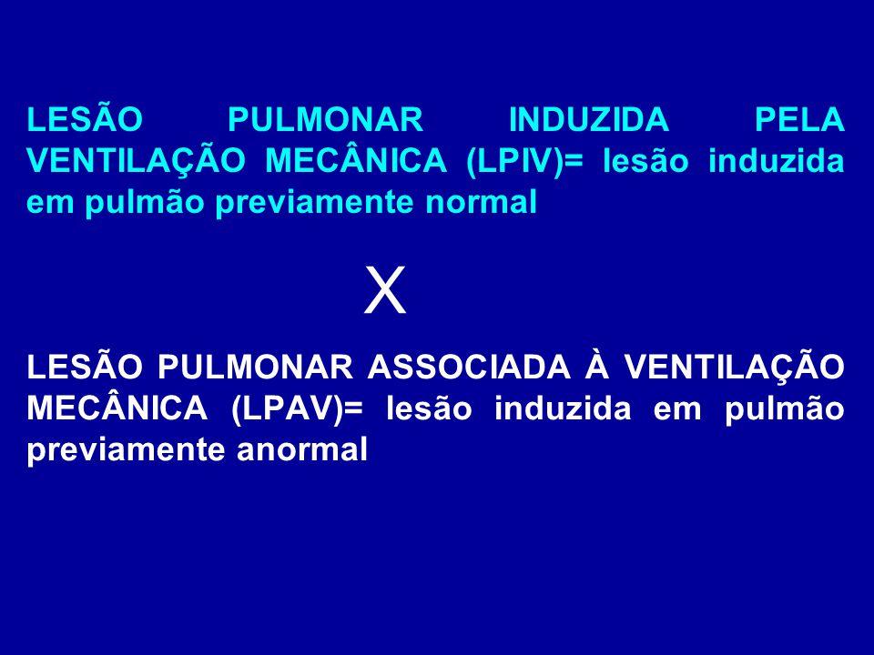 LESÃO PULMONAR INDUZIDA PELA VENTILAÇÃO MECÂNICA (LPIV)= lesão induzida em pulmão previamente normal