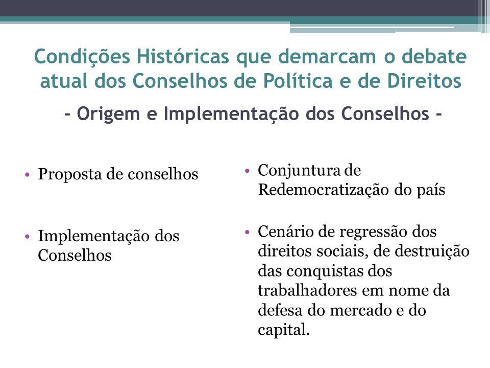 Condições Históricas que demarcam o debate atual dos Conselhos de Política e de Direitos - Origem e Implementação dos Conselhos -