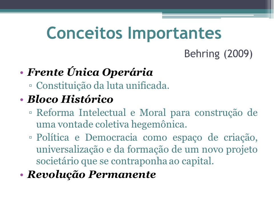 Conceitos Importantes Behring (2009)