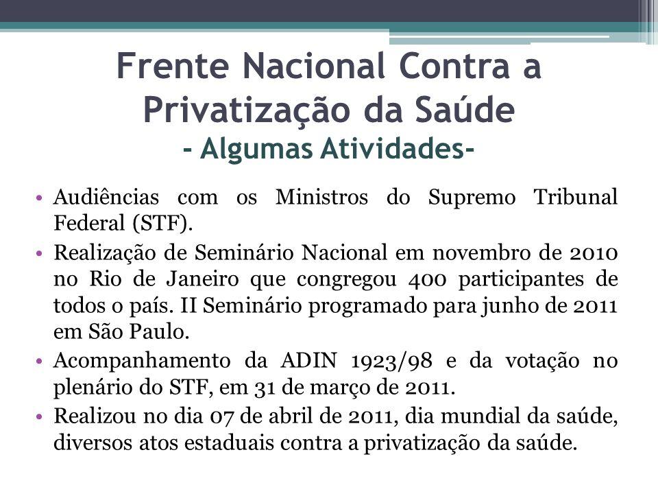 Frente Nacional Contra a Privatização da Saúde - Algumas Atividades-
