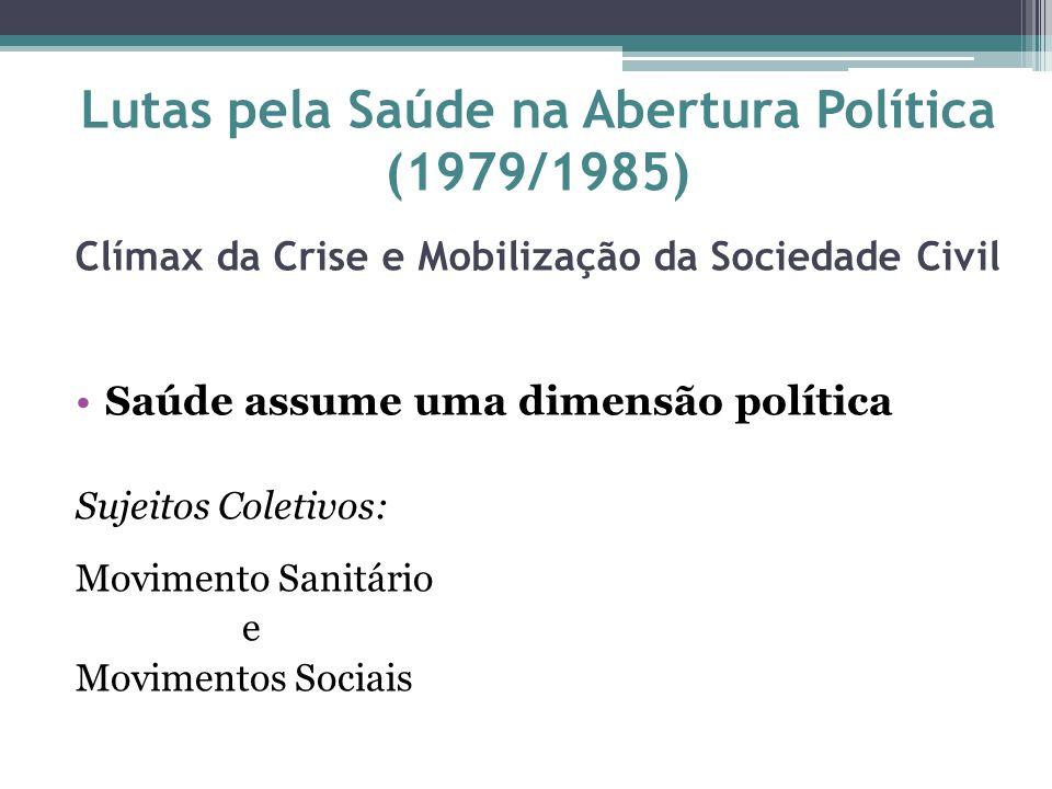 Lutas pela Saúde na Abertura Política (1979/1985) Clímax da Crise e Mobilização da Sociedade Civil