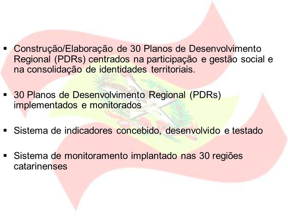 Construção/Elaboração de 30 Planos de Desenvolvimento Regional (PDRs) centrados na participação e gestão social e na consolidação de identidades territoriais.