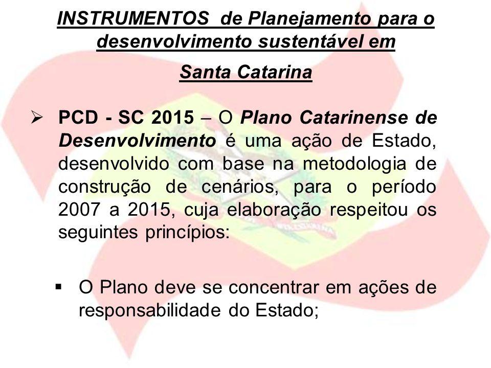 INSTRUMENTOS de Planejamento para o desenvolvimento sustentável em Santa Catarina