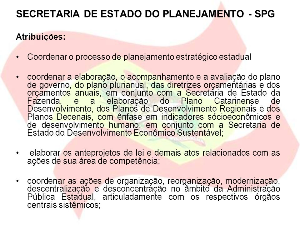 SECRETARIA DE ESTADO DO PLANEJAMENTO - SPG