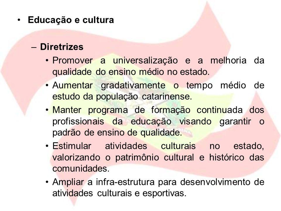 Educação e cultura Diretrizes. Promover a universalização e a melhoria da qualidade do ensino médio no estado.