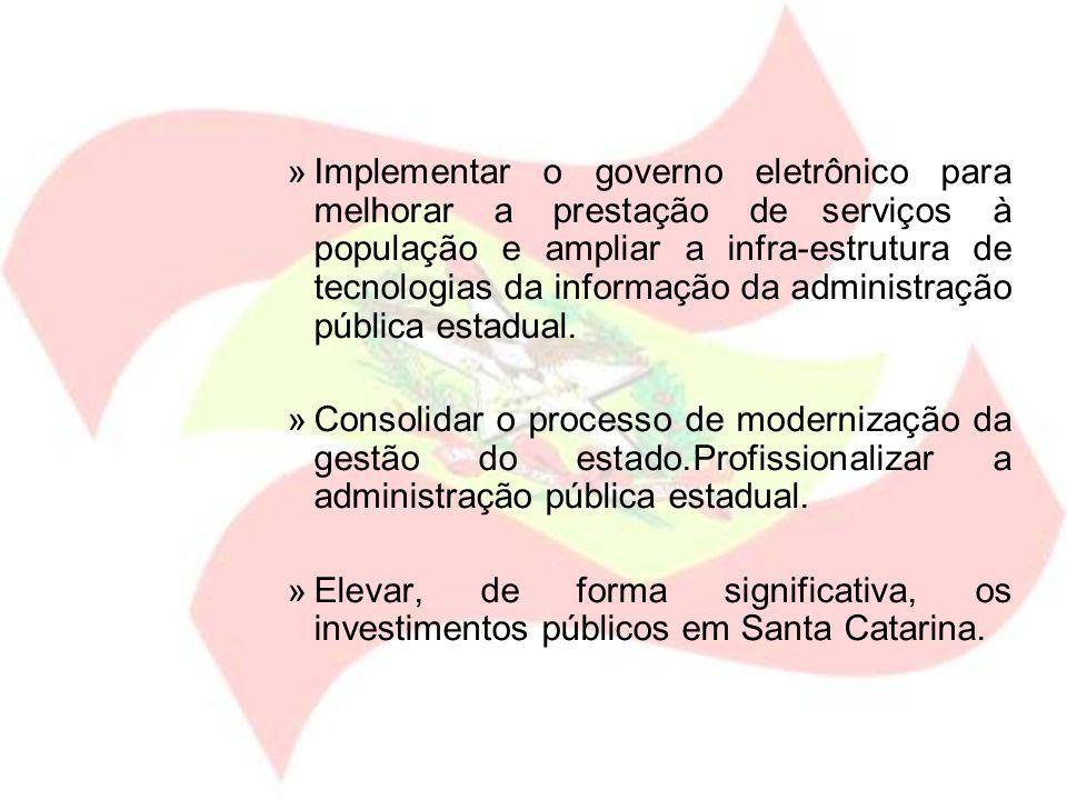 Implementar o governo eletrônico para melhorar a prestação de serviços à população e ampliar a infra-estrutura de tecnologias da informação da administração pública estadual.