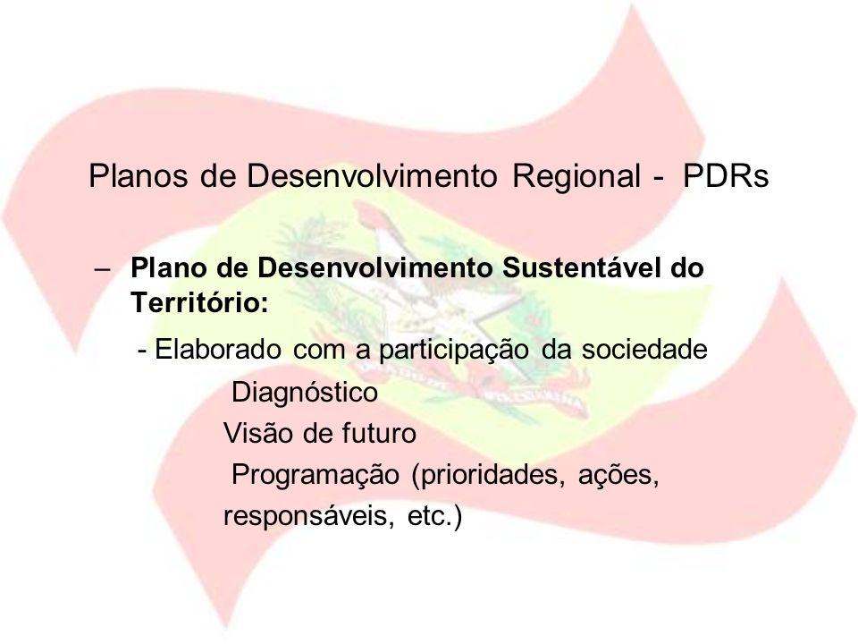 Planos de Desenvolvimento Regional - PDRs