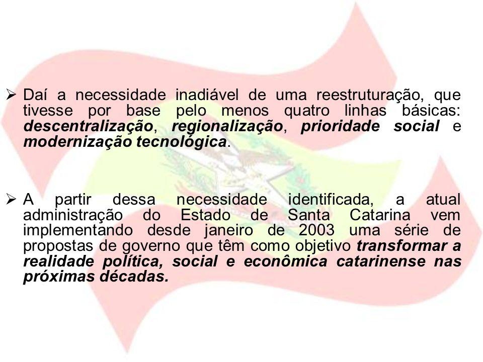 Daí a necessidade inadiável de uma reestruturação, que tivesse por base pelo menos quatro linhas básicas: descentralização, regionalização, prioridade social e modernização tecnológica.