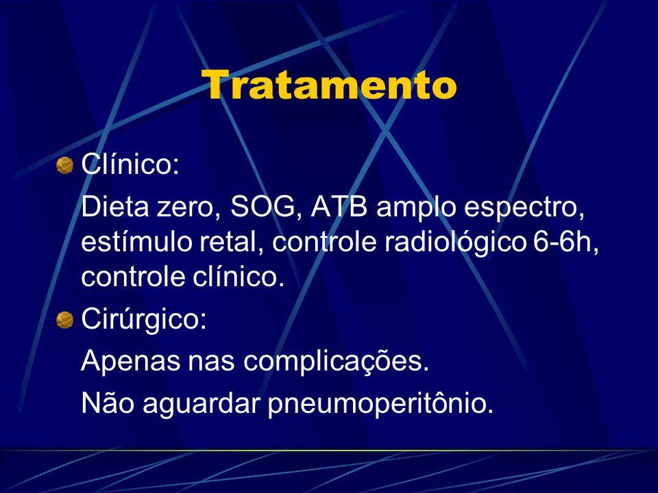 Tratamento Clínico: Dieta zero, SOG, ATB amplo espectro, estímulo retal, controle radiológico 6-6h, controle clínico.