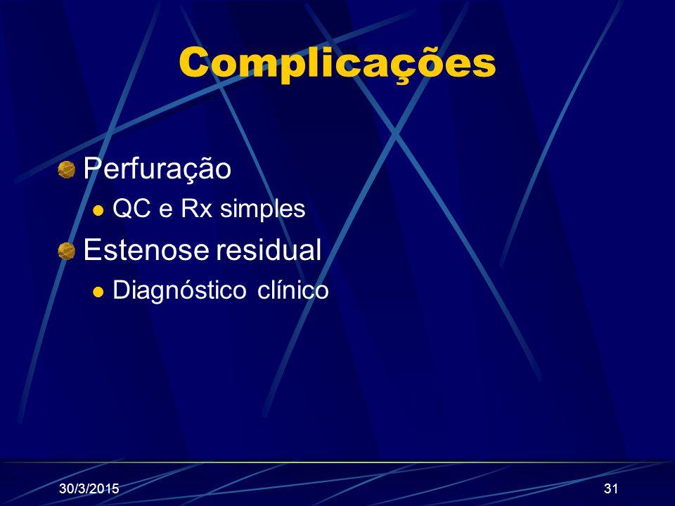 Complicações Perfuração Estenose residual QC e Rx simples