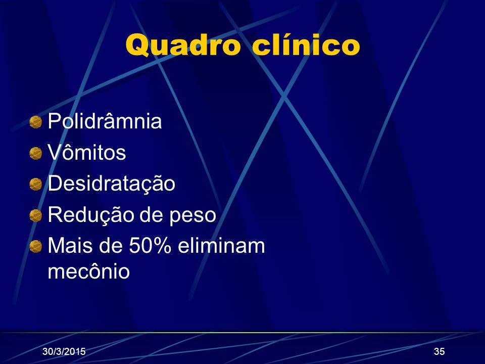 Quadro clínico Polidrâmnia Vômitos Desidratação Redução de peso