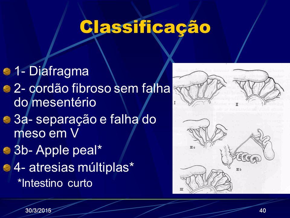 Classificação 1- Diafragma 2- cordão fibroso sem falha do mesentério