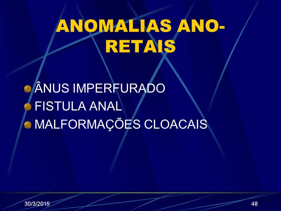 ANOMALIAS ANO-RETAIS ÂNUS IMPERFURADO FISTULA ANAL