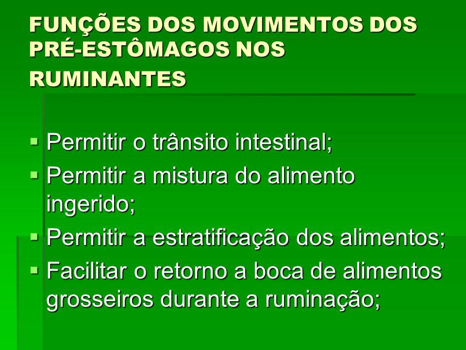 FUNÇÕES DOS MOVIMENTOS DOS PRÉ-ESTÔMAGOS NOS RUMINANTES