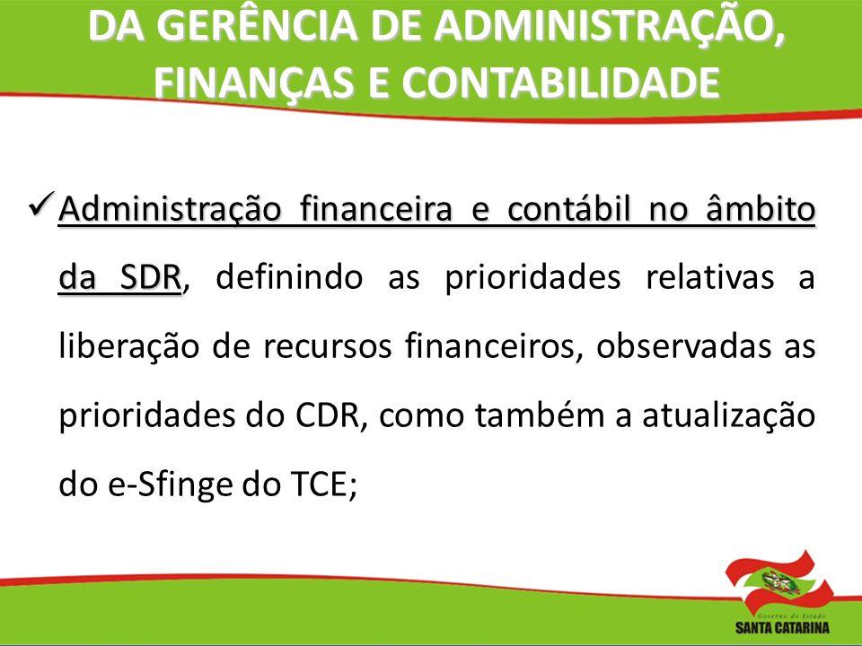 DA GERÊNCIA DE ADMINISTRAÇÃO, FINANÇAS E CONTABILIDADE