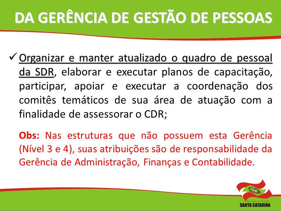 DA GERÊNCIA DE GESTÃO DE PESSOAS