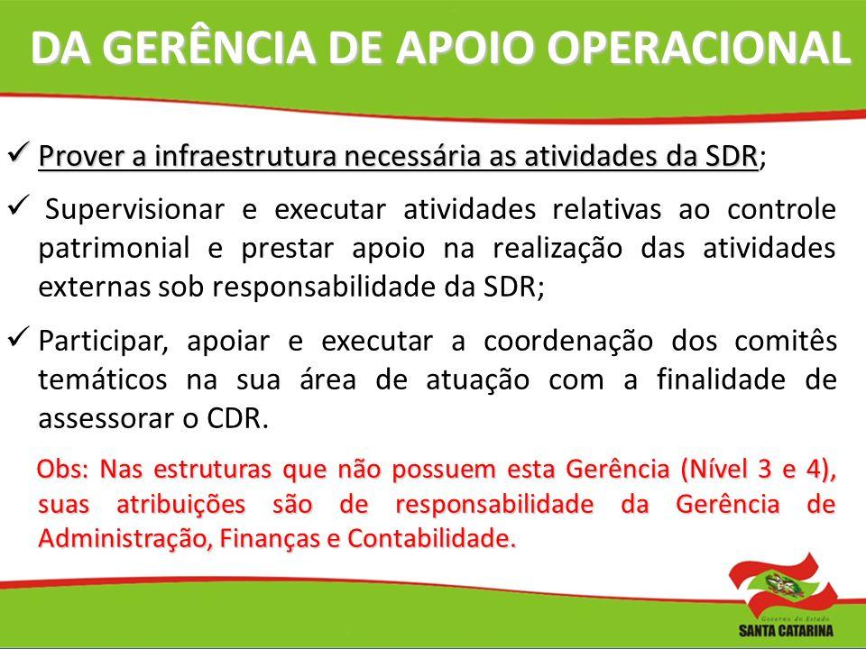 DA GERÊNCIA DE APOIO OPERACIONAL
