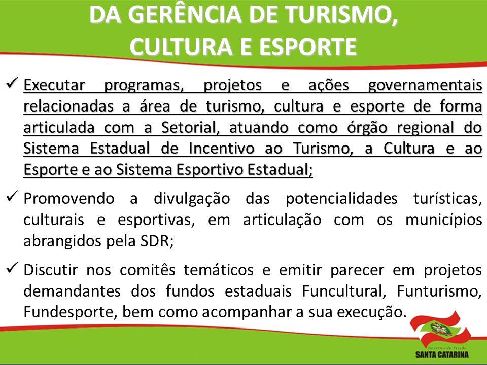 DA GERÊNCIA DE TURISMO, CULTURA E ESPORTE