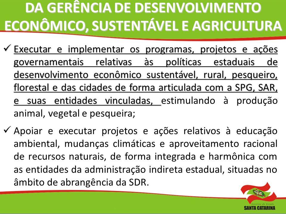 DA GERÊNCIA DE DESENVOLVIMENTO ECONÔMICO, SUSTENTÁVEL E AGRICULTURA