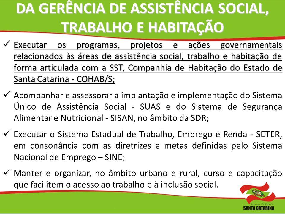 DA GERÊNCIA DE ASSISTÊNCIA SOCIAL, TRABALHO E HABITAÇÃO