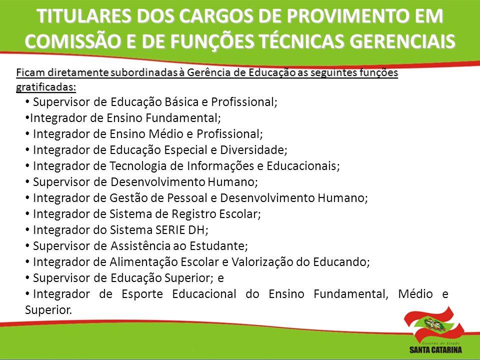 TITULARES DOS CARGOS DE PROVIMENTO EM COMISSÃO E DE FUNÇÕES TÉCNICAS GERENCIAIS