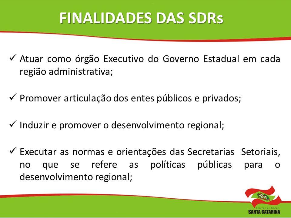 FINALIDADES DAS SDRs Atuar como órgão Executivo do Governo Estadual em cada região administrativa;