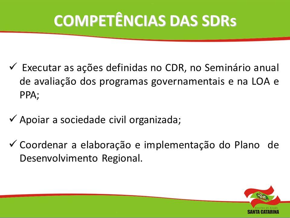 COMPETÊNCIAS DAS SDRs Executar as ações definidas no CDR, no Seminário anual de avaliação dos programas governamentais e na LOA e PPA;