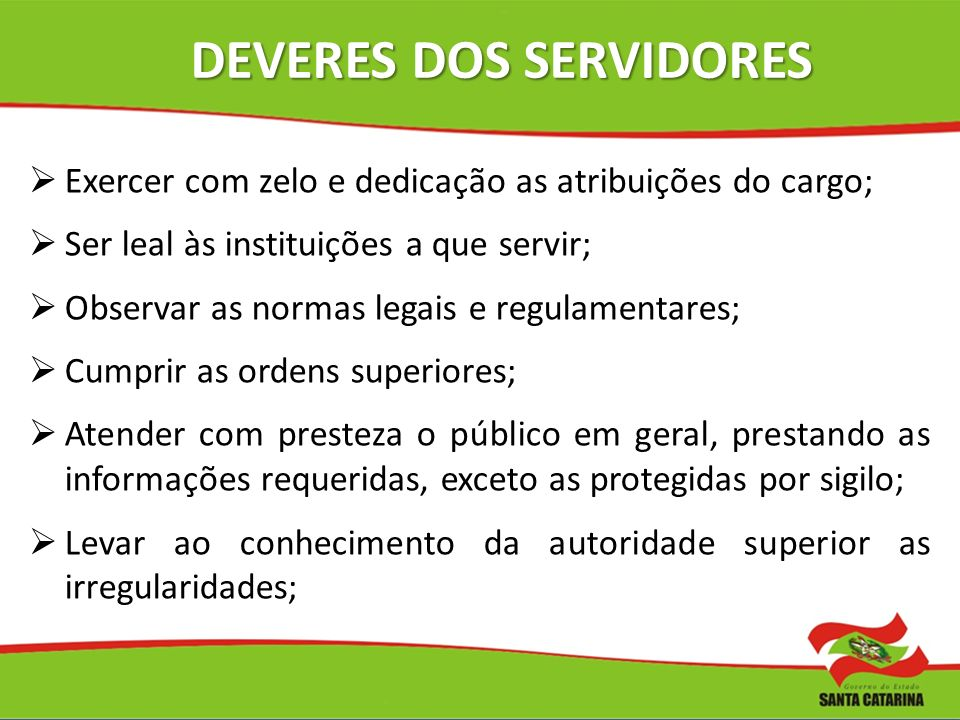 DEVERES DOS SERVIDORES