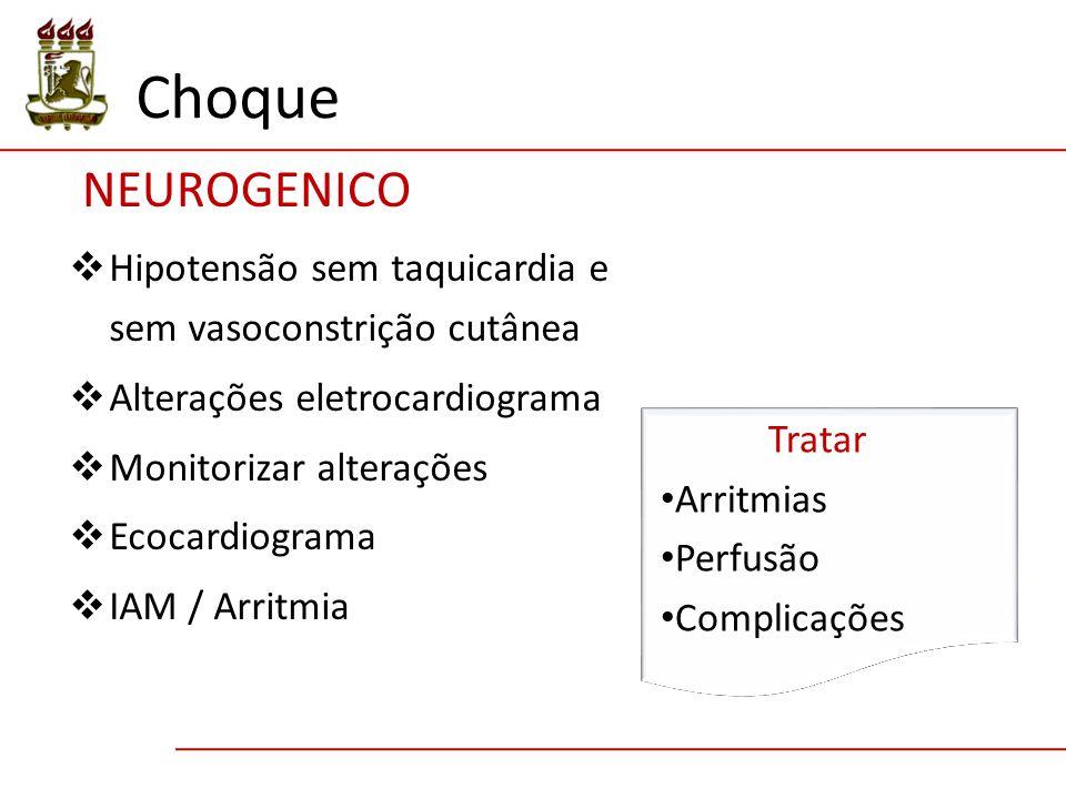 Choque NEUROGENICO. Hipotensão sem taquicardia e sem vasoconstrição cutânea. Alterações eletrocardiograma.
