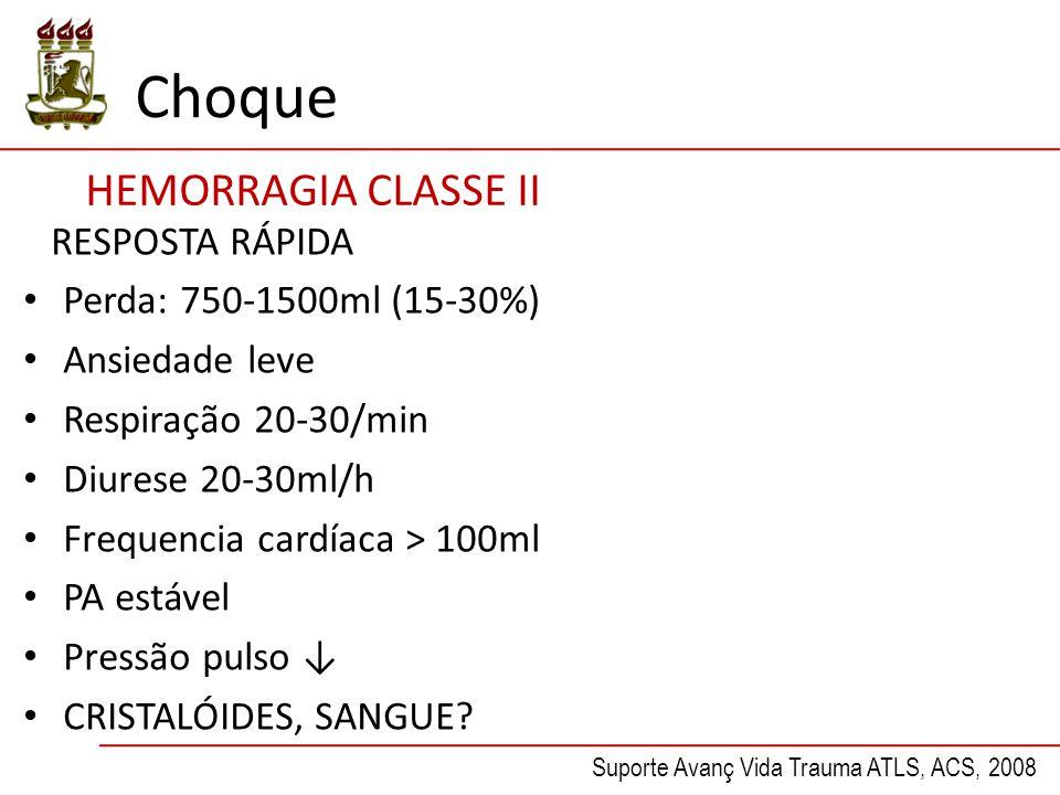 Choque HEMORRAGIA CLASSE II RESPOSTA RÁPIDA Perda: 750-1500ml (15-30%)