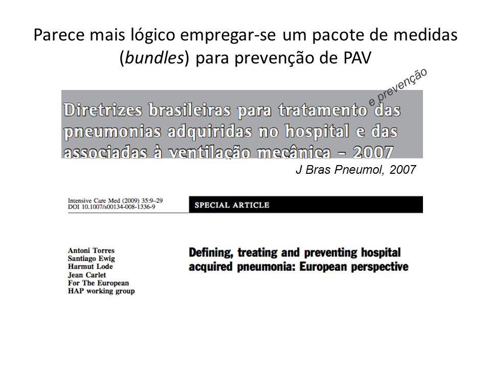 Parece mais lógico empregar-se um pacote de medidas (bundles) para prevenção de PAV