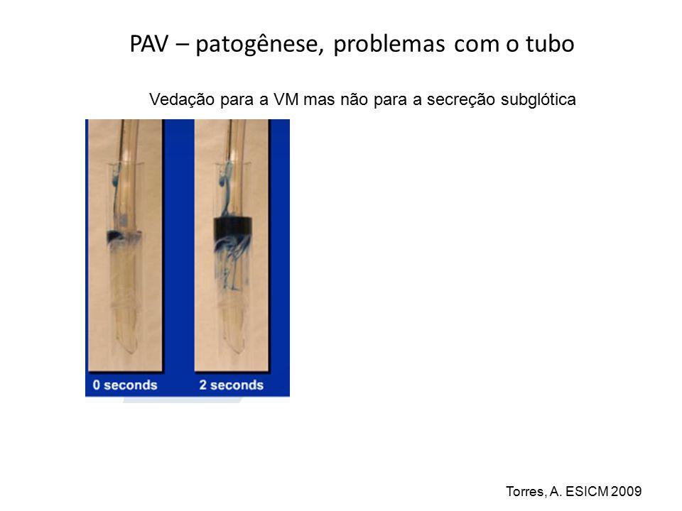 PAV – patogênese, problemas com o tubo