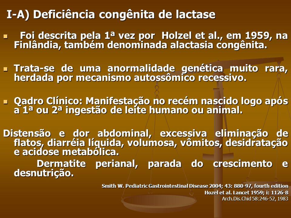I-A) Deficiência congênita de lactase