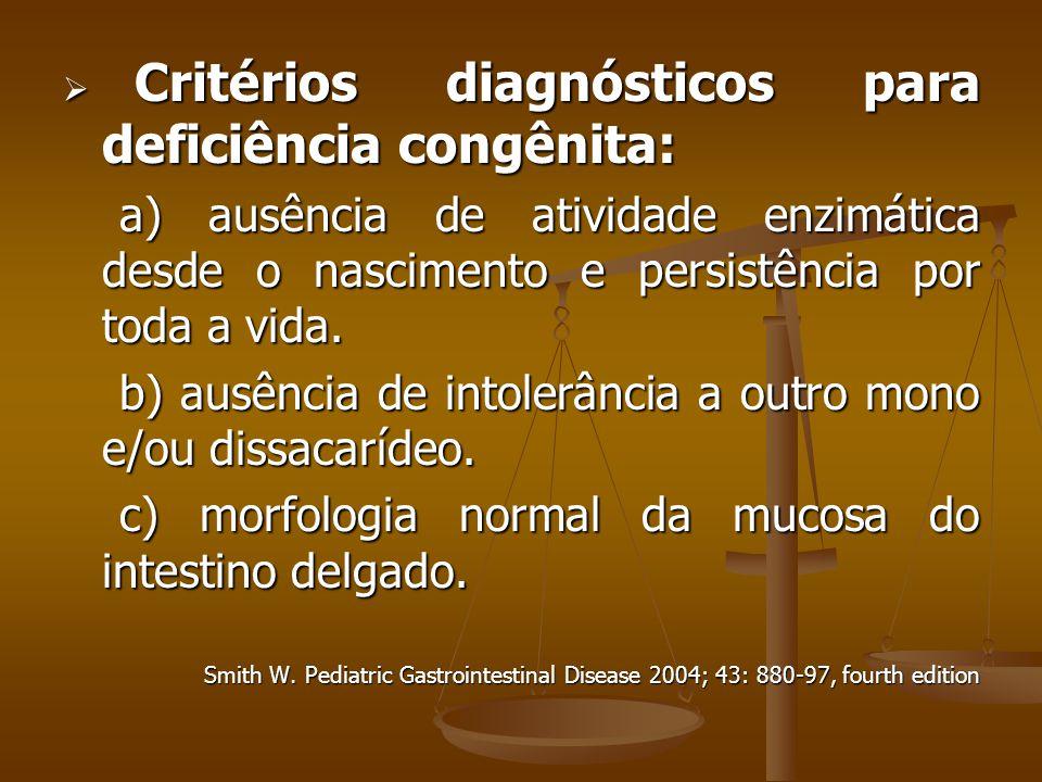 Critérios diagnósticos para deficiência congênita: