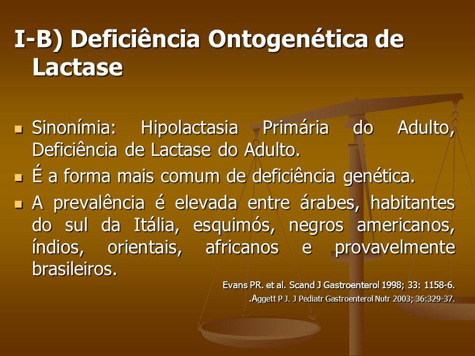 I-B) Deficiência Ontogenética de Lactase