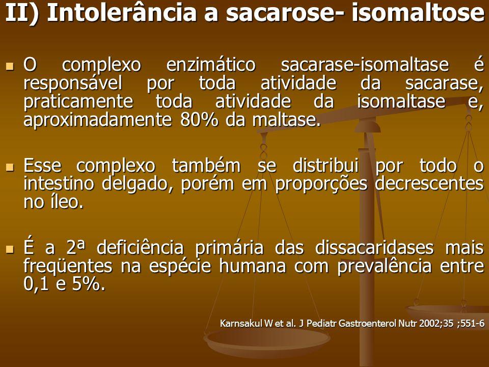 II) Intolerância a sacarose- isomaltose