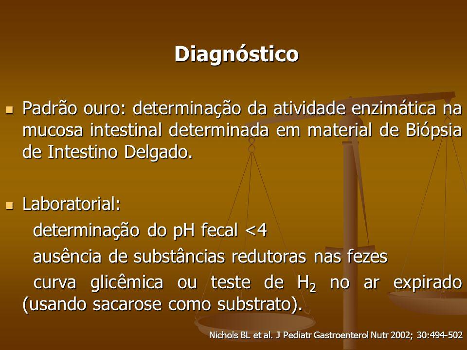 Diagnóstico Padrão ouro: determinação da atividade enzimática na mucosa intestinal determinada em material de Biópsia de Intestino Delgado.