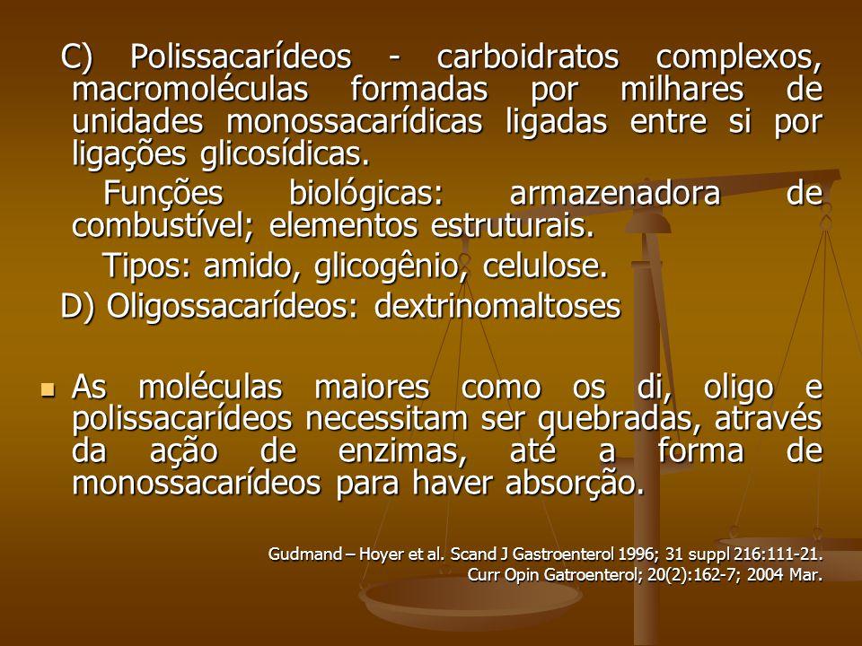 Tipos: amido, glicogênio, celulose.