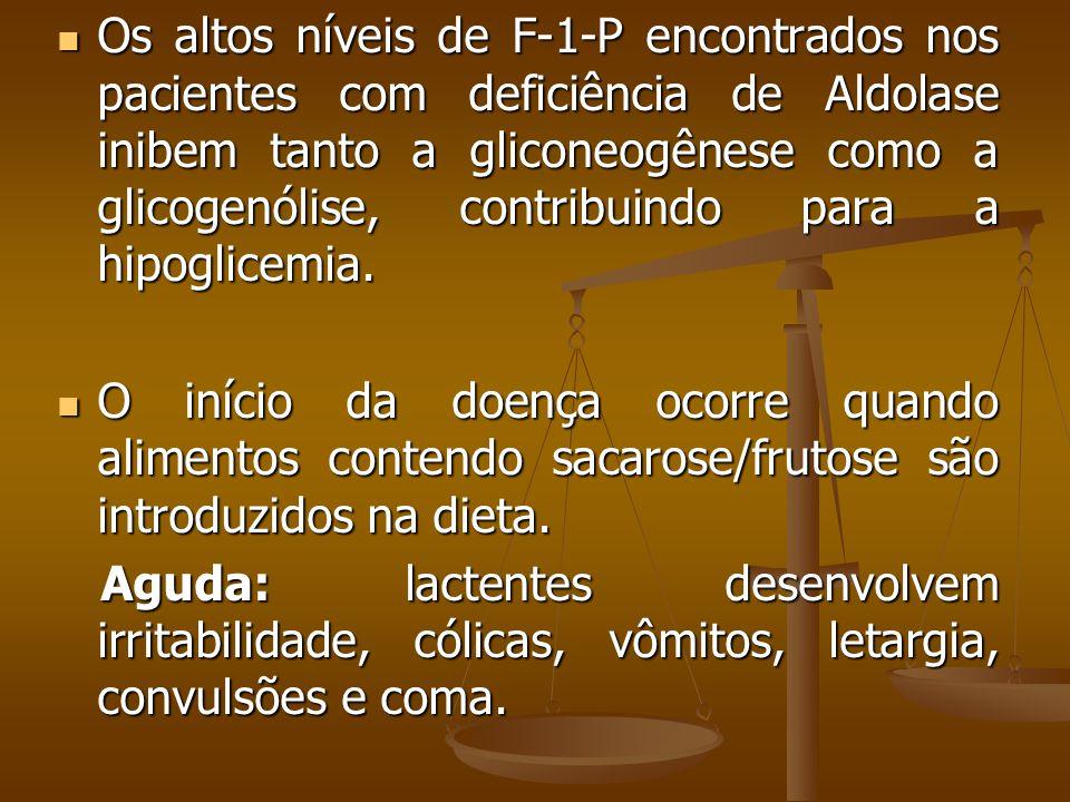 Os altos níveis de F-1-P encontrados nos pacientes com deficiência de Aldolase inibem tanto a gliconeogênese como a glicogenólise, contribuindo para a hipoglicemia.