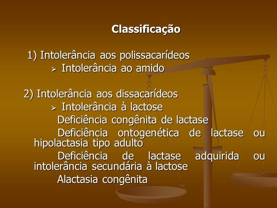 Classificação 1) Intolerância aos polissacarídeos. Intolerância ao amido. 2) Intolerância aos dissacarídeos.
