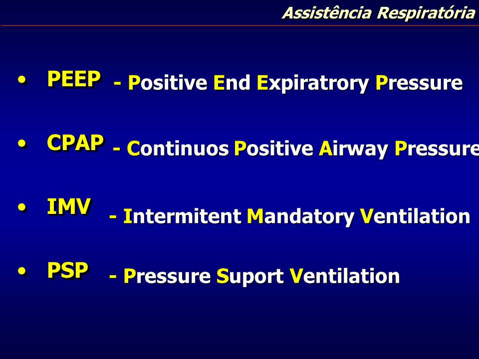 PEEP CPAP IMV PSP - Positive End Expiratrory Pressure