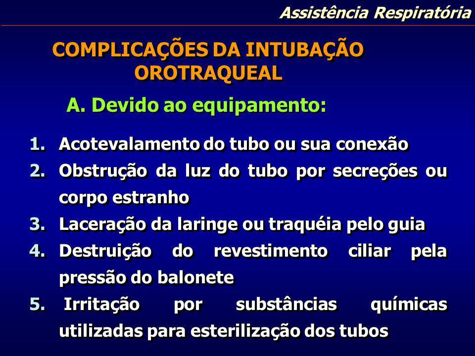 COMPLICAÇÕES DA INTUBAÇÃO OROTRAQUEAL A. Devido ao equipamento: